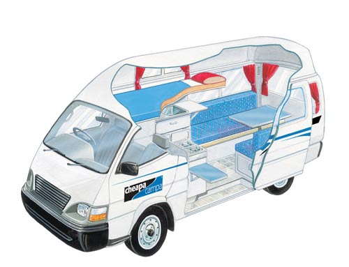 cheapa 3 berth campa campervan hire in australia cheapa vehicle guide. Black Bedroom Furniture Sets. Home Design Ideas